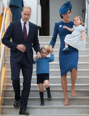 Prince William, Prince George, Catherine, Duchess of Cambridge and Princess Charlotte arrive at 443 Maritime Helicopter Squadron base on Saturday in Victoria, British Columbia.