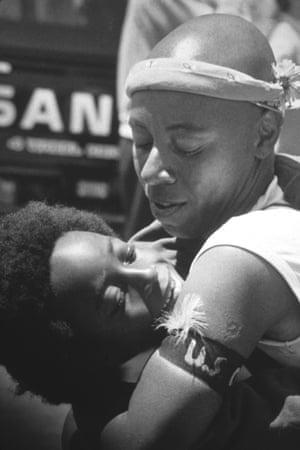 A mom and son with Sistah Boom at San Francisco Pride parade, June 1984.