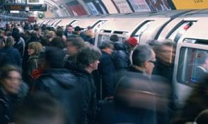 People boarding a tube.