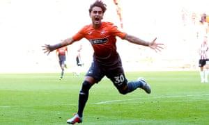 Yan Dhanda celebrates after he scores Swansea's second goal.