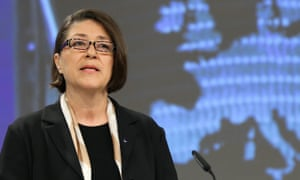 Violeta Bulc, the European commissioner for transport, at a briefing earlier today.