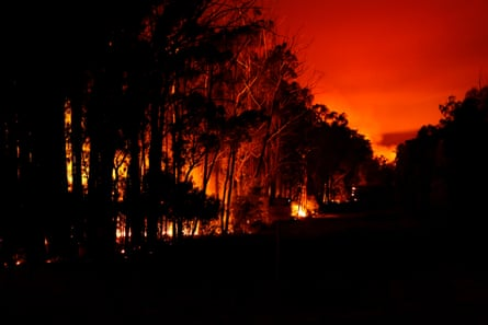 Bushfires rage at Mallacoota in east Gippsland in January