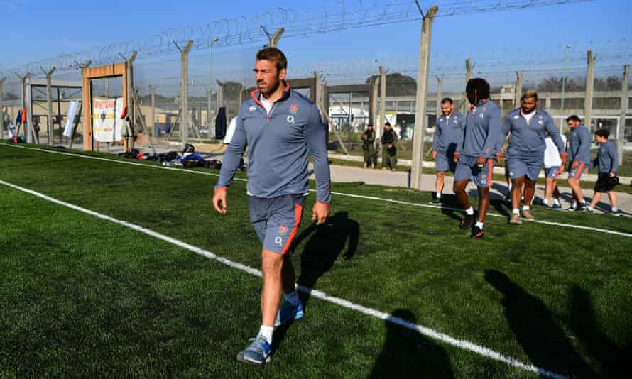 Chris Robshaw steps out onto the field of play at the Unidad Penitenciaria 46 PBA in Buenos Aires in June 2017.