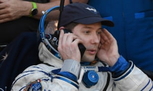 Thomas Pesquet after arrving back on Earth in the Soyuz capsule.