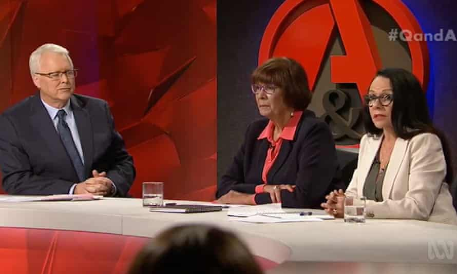 Q&A host Tony Jones, with National Aboriginal Community Controlled Health Organisation chief executive Patricia Turner and Labor MP Linda Burney.