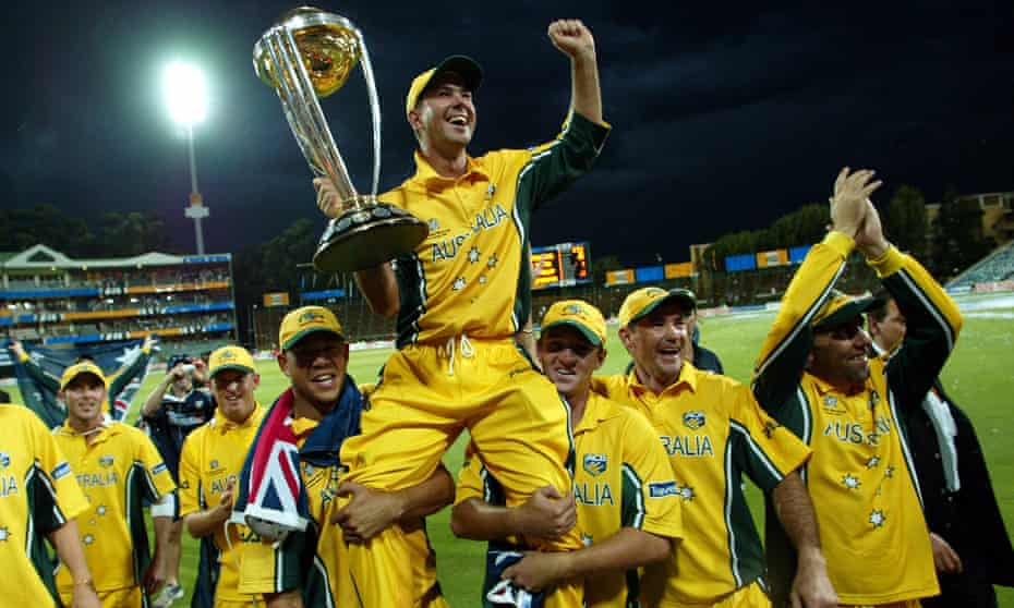 Ricky Ponting is carried on the shoulders of his teammates with the World Cup after their victory against India in the 2003 final in Johannesburg.