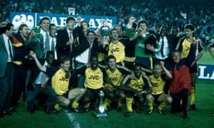 Arsenal's players celebrate after winning the First Division title at Anfield in 1989.