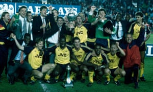 Arsenal celebrate after winning the First Division championship at the climax of the 1988-89 season.