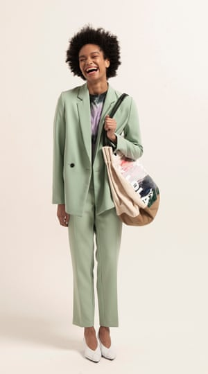 model wears  double-breasted blazer, £60, and trousers, £35, both next.co.uk. T-shirt, £50, ninetypercent.com. Shoes, £170, gestuz.com. Shopper, £180, bimbaylola.com.