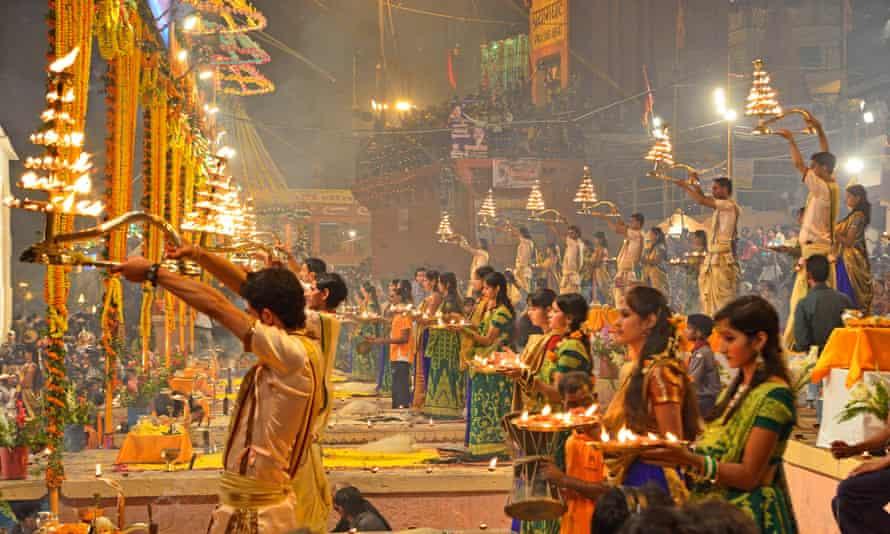 Diwali celebrations in Varanasi, India.