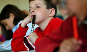 Students sitting their year 6 SATs test at a school in Cardiff, Wales.