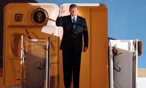 Trump arrives at Noi Bai airport in Hanoi.