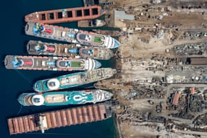 Five cruise ships lie among vessels being broken up at Aliağa in Turkey, victims of the Covid-19 downturn.