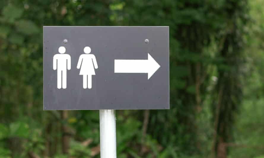 Toilet sign with male and female symbols