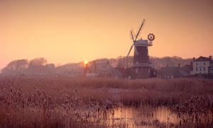 Cley next the Sea windmill and surrounding marshes in Norfolk England