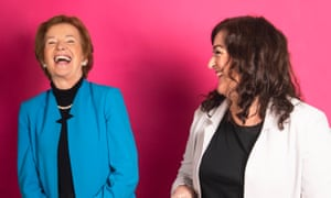 Mary Robinson and Maeve Higgins, presenters of the Mothers of Invention podcast.