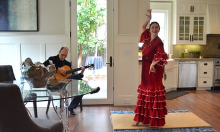 A dancer and guitarist at a showing in Menlo Park this month.