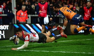Louis Rees-Zammit scores the second try for Gloucester in their bonus-point win at Kingsholm.
