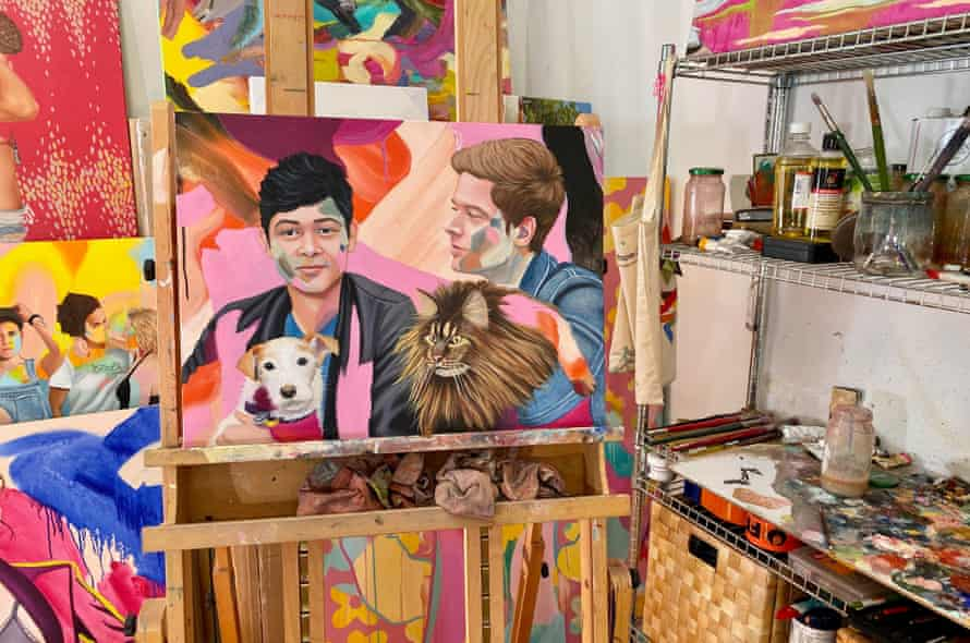 A portrait of the couple painted by Kim Leutwyler to mark their 10 years spent together