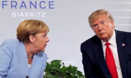 """Donald Trump rencontre Angela Merkel lors du sommet du G7 à Biarritz, en France, en 2019. """"Il a toujours été particulièrement impoli avec Merkel"""", a déclaré un ancien responsable de la Maison Blanche."""