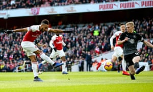 Pierre-Emerick Aubameyang fires in his, and Arsenal's second.