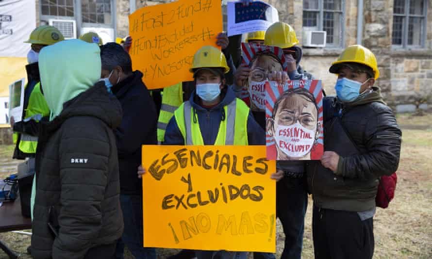 A protest for excluded workers in White Plains, New York in March. The state dedicated a total of $2.1bn to an excluded worker fund.