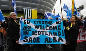 Independence supporters outside the conference centre.