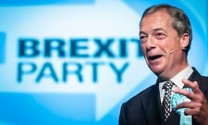 Nigel Farage at a Brexit party rally in Peterborough