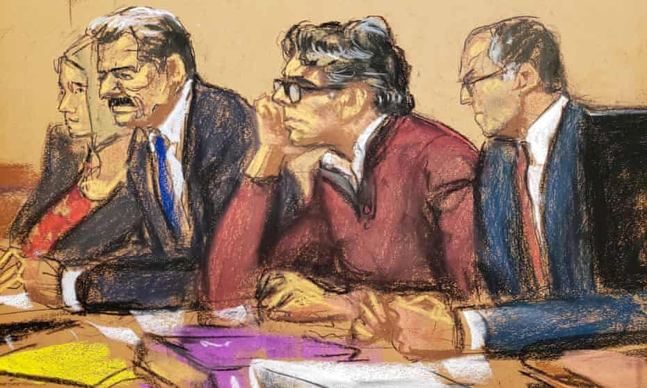 Keith Raniere, center, in a courtroom sketch in Brooklyn, New York, on 17 June.