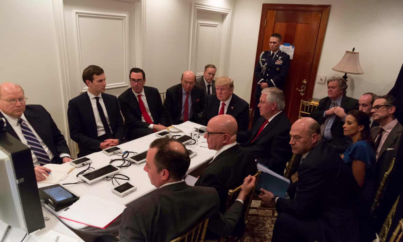 President Trump receives a briefing on Syria from his national security team while in Mar-a-Lago. Photograph taken 6 April immediately after the airstrike
