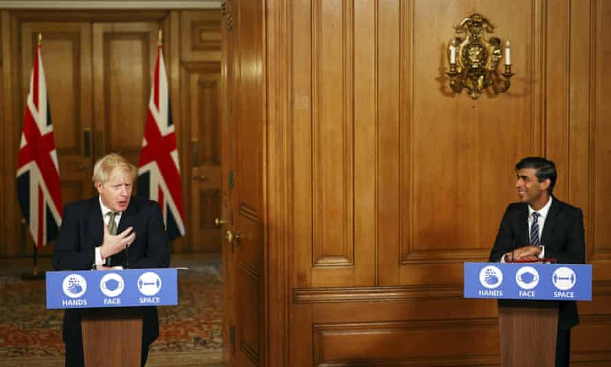 Boris Johnson and Rishi Sunak at a coronavirus briefing in October.