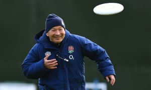 Eddie Jones, throwing a frisbee during England training, said: 'No one likes to see a game called off because of a breakdown in protocols.'
