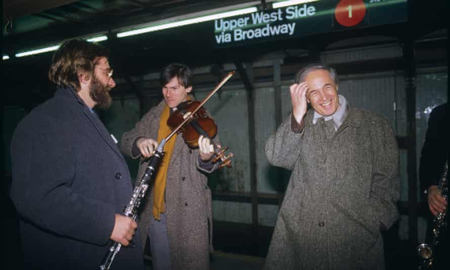 'His relationships with his players was warm and based on total mutual respect': Boulez with members of the Ensemble Intercontemporain in New York in 1986.