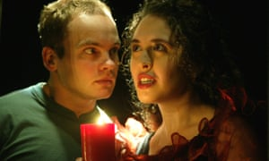 Robert Vesty as Pip and Viss Elliot as Estella in Great Expectations at the Pleasance theatre, London.