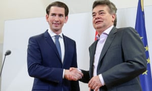 The chancellor, Sebastian Kurz (left), of the conservative ÖVP with the Green leader, Werner Kogler.