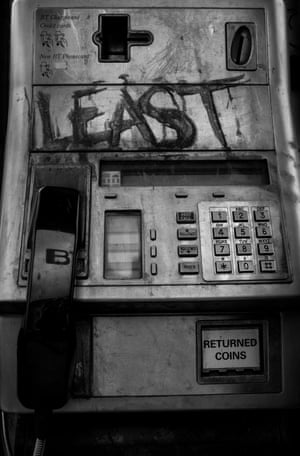 A phone box in Palmers Green, north London, daubed with graffiti