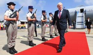 Boris Johnson arrives in Biarritz, France, for the G7 summit.