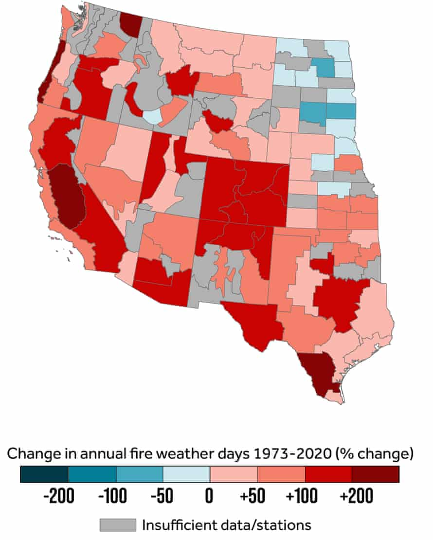 map showing change in annual fire weather days by percentage