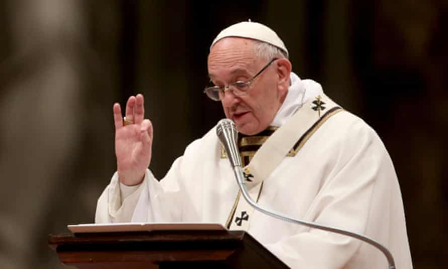 Pope Francis delivers his Christmas Eve homily at St Peter's Basilica
