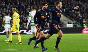 Denis Cheryshev celebrates scoring Valencia's opening goal during their Europa League first-leg win at Celtic.