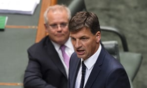 Angus Taylor and Scott Morrison during question time in parliament on Tuesday