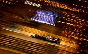 Mercedes' British driver Lewis Hamilton drives during the F1 Bahrain Grand Prix at the Sakhir circuit in the desert south of the capital Manama.