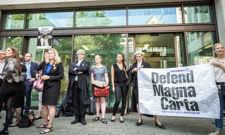 Barristers, solicitors and supporters protesting against the cuts outside Westminster magistrates court last week.