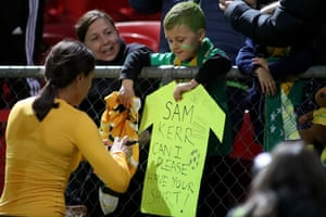 Sam Kerr gives Patrick Dobbin, 6, her shirt