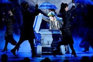 Alex Brightman and the cast of Beetlejuice perform onstage