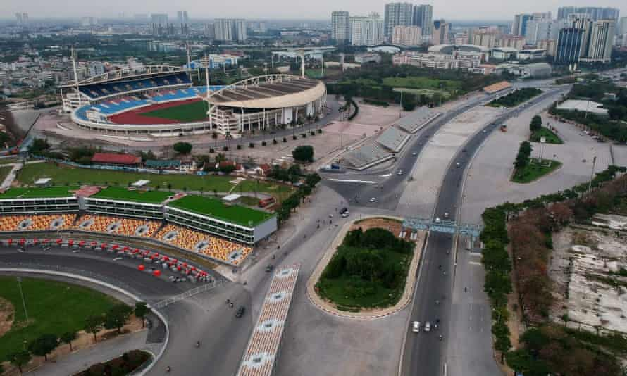 Aerial photo of the Formula One Vietnam Grand Prix race track in Hanoi taken in March.