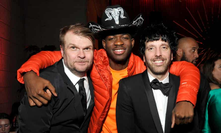 Sony Music Group chairman Rob Stringer, Lil Nas X and Columbia CEO Ron Perry attend the Sony Music Entertainment 2020 post-Grammy reception in LA.
