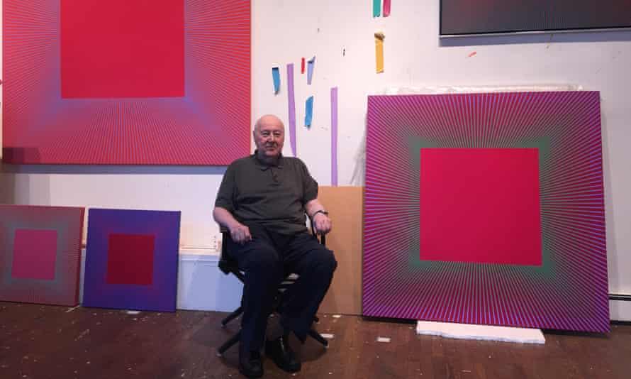 Richard Anuszkiewicz in his studio.