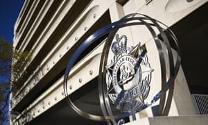 The Australian federal police emblem outside its headquarters in Canberra
