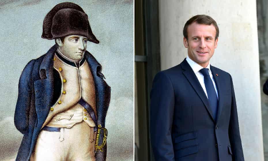 Empire line: French emperor Napoleon Bonaparte and current president Emmanuel Macron.